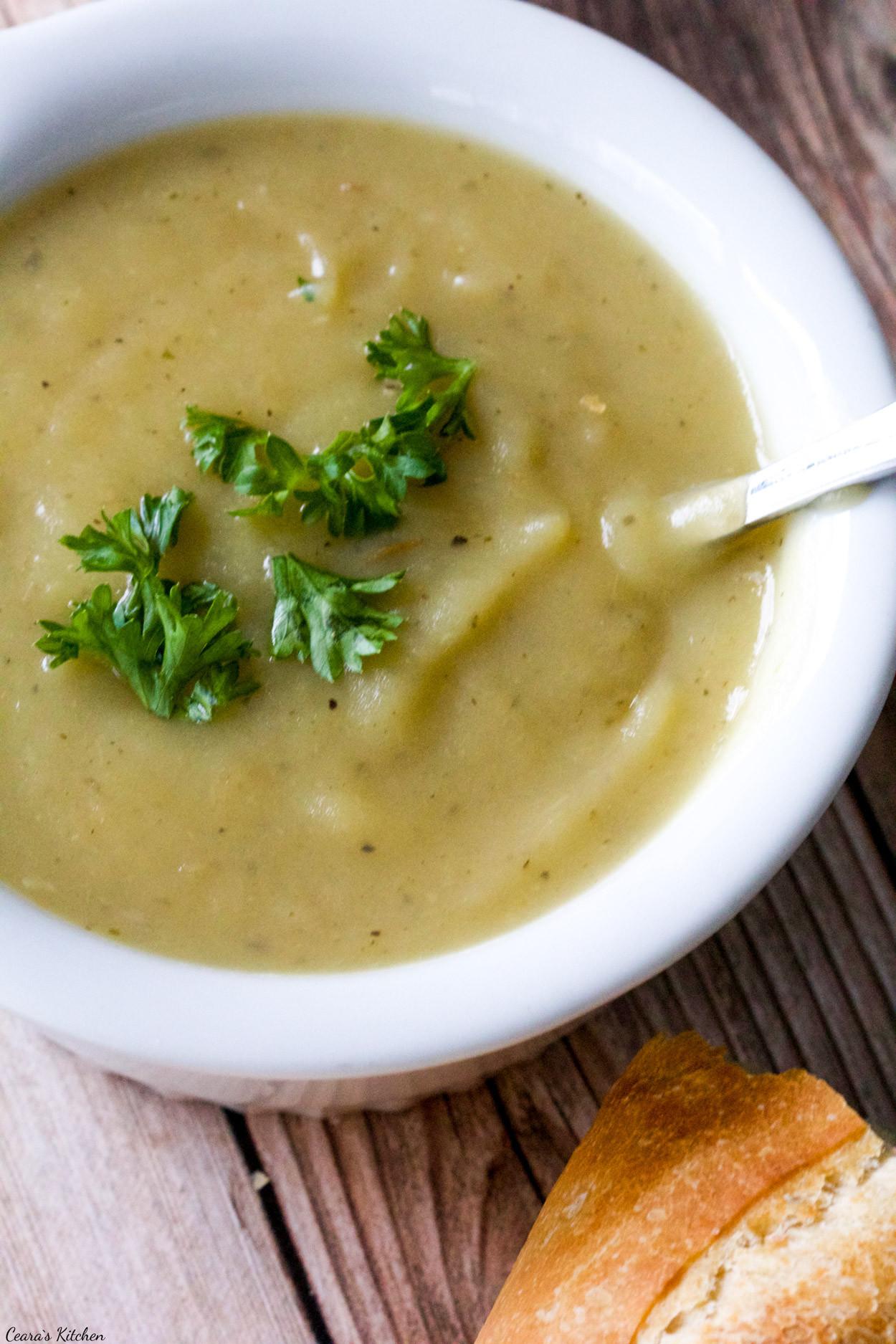 Healthy Leek And Potato Soup  Vegan Potato Leek Soup