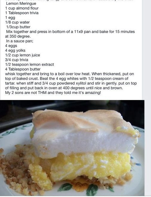 Healthy Lemon Meringue Pie  17 Best images about Trim Healthy Mama S Deserts on