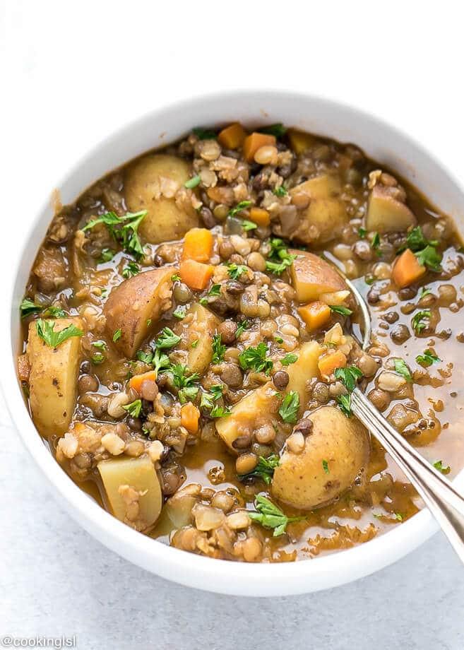 Healthy Lentil Recipes  Easy Lentil Potato Soup Recipe Cooking LSL