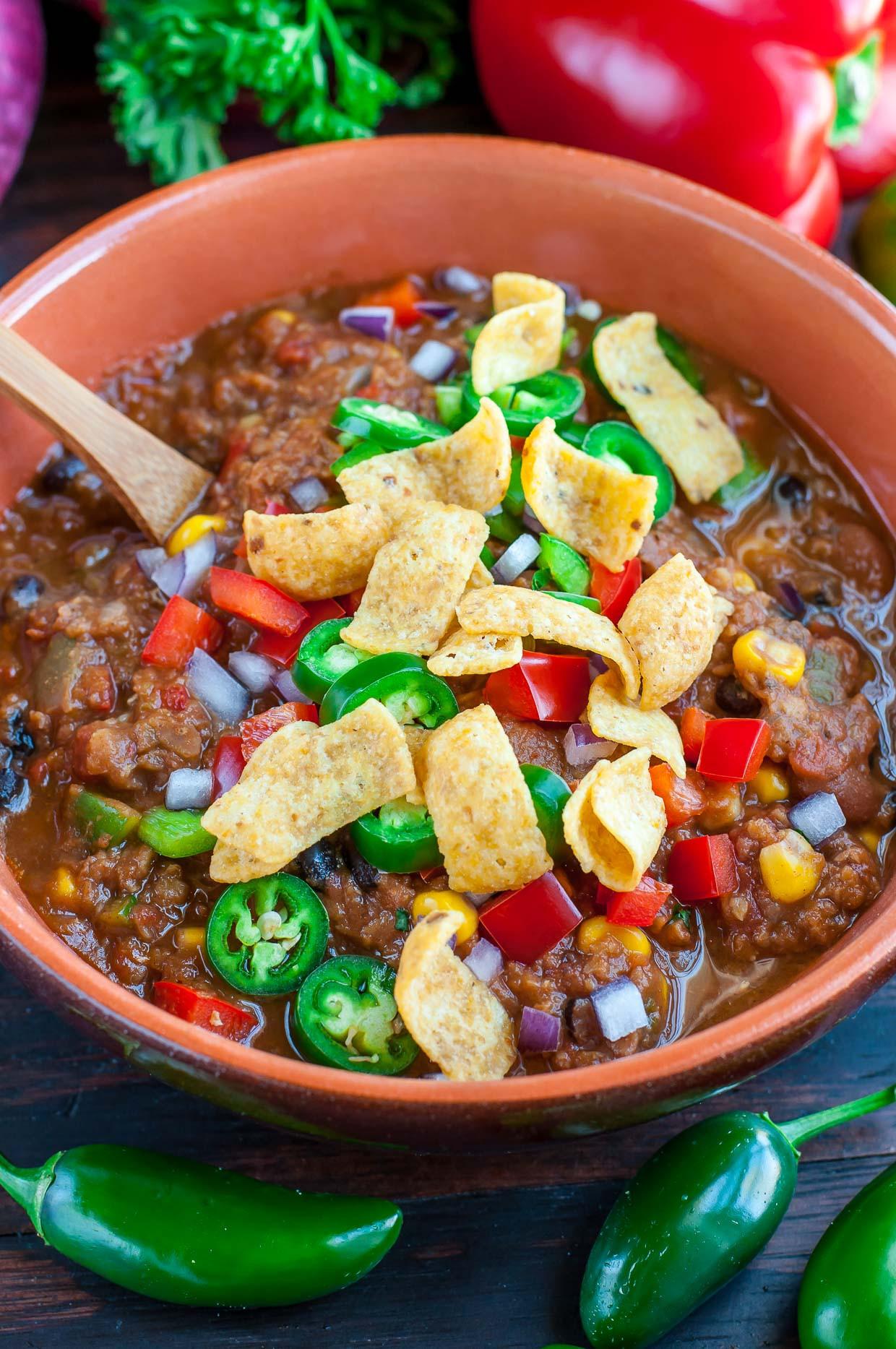 Healthy Lentil Recipes  Vegan Lentil Chili Peas And Crayons