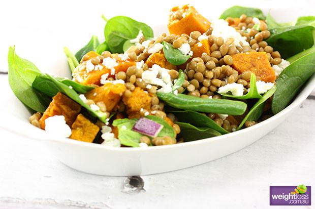 Healthy Lentil Recipes For Weight Loss  Pumpkin & Green Lentil Salad