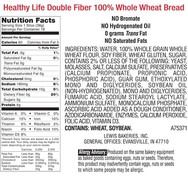 Healthy Life Whole Wheat Bread  Healthy Life Bread Double Fiber Whole Wheat
