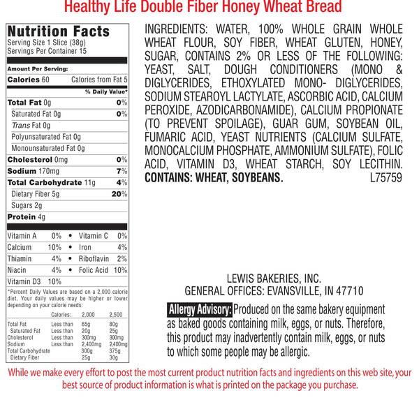Healthy Life Whole Wheat Bread  Healthy Life Bread Double Fiber Honey Wheat