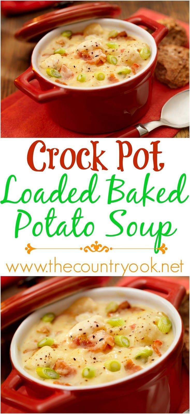 Healthy Loaded Baked Potato Soup  Crock Pot Loaded Baked Potato Soup recipe from The Country