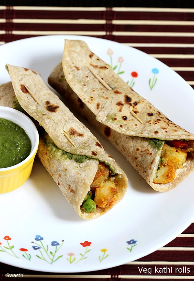Healthy Lunch Recipes Indian  Kathi rolls recipe How to make veg kati roll