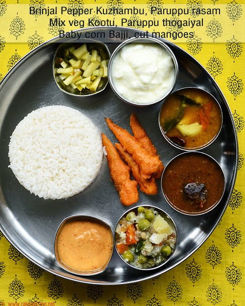 Healthy Lunch Recipes Indian  South Indian lunch ideas Lunch menu 54 Raks Kitchen