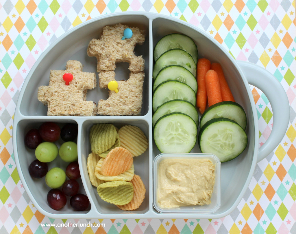 Healthy Lunches For Preschoolers  fun preschool lunch with puzzle sandwich grapes hummus