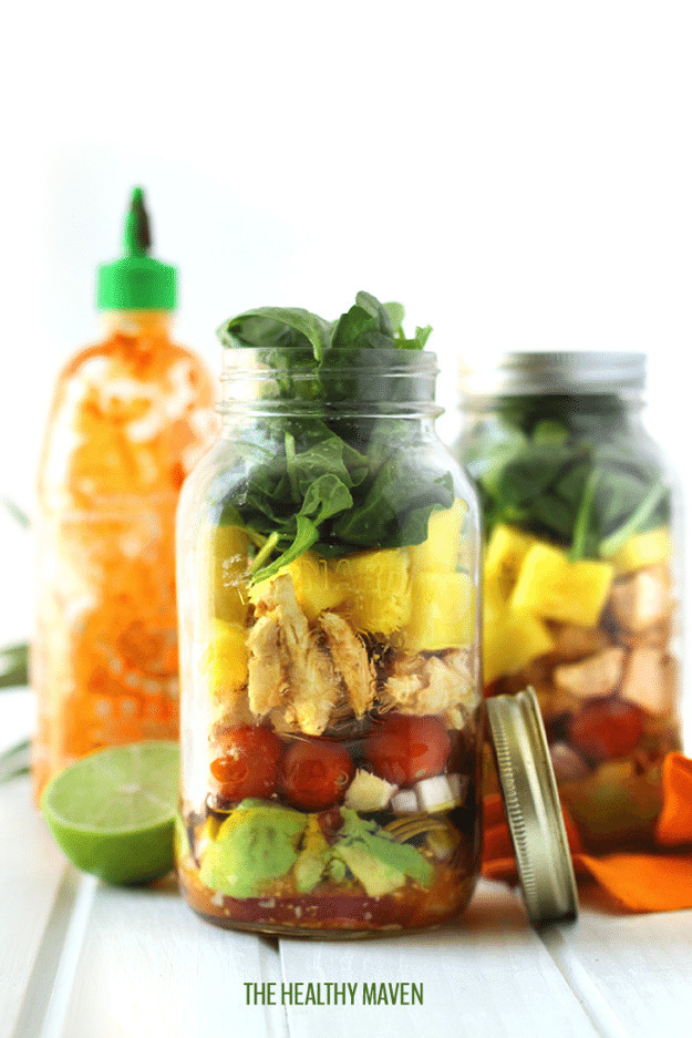 Healthy Mason Jar Salads  Strawberry Spinach Mason Jar Salad