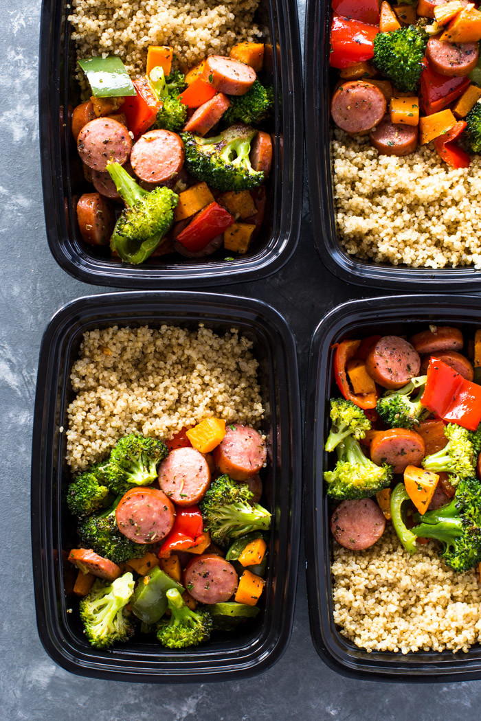 Healthy Meal Prep Dinners  Roasted Sausage Veggies and Quinoa Meal Prep