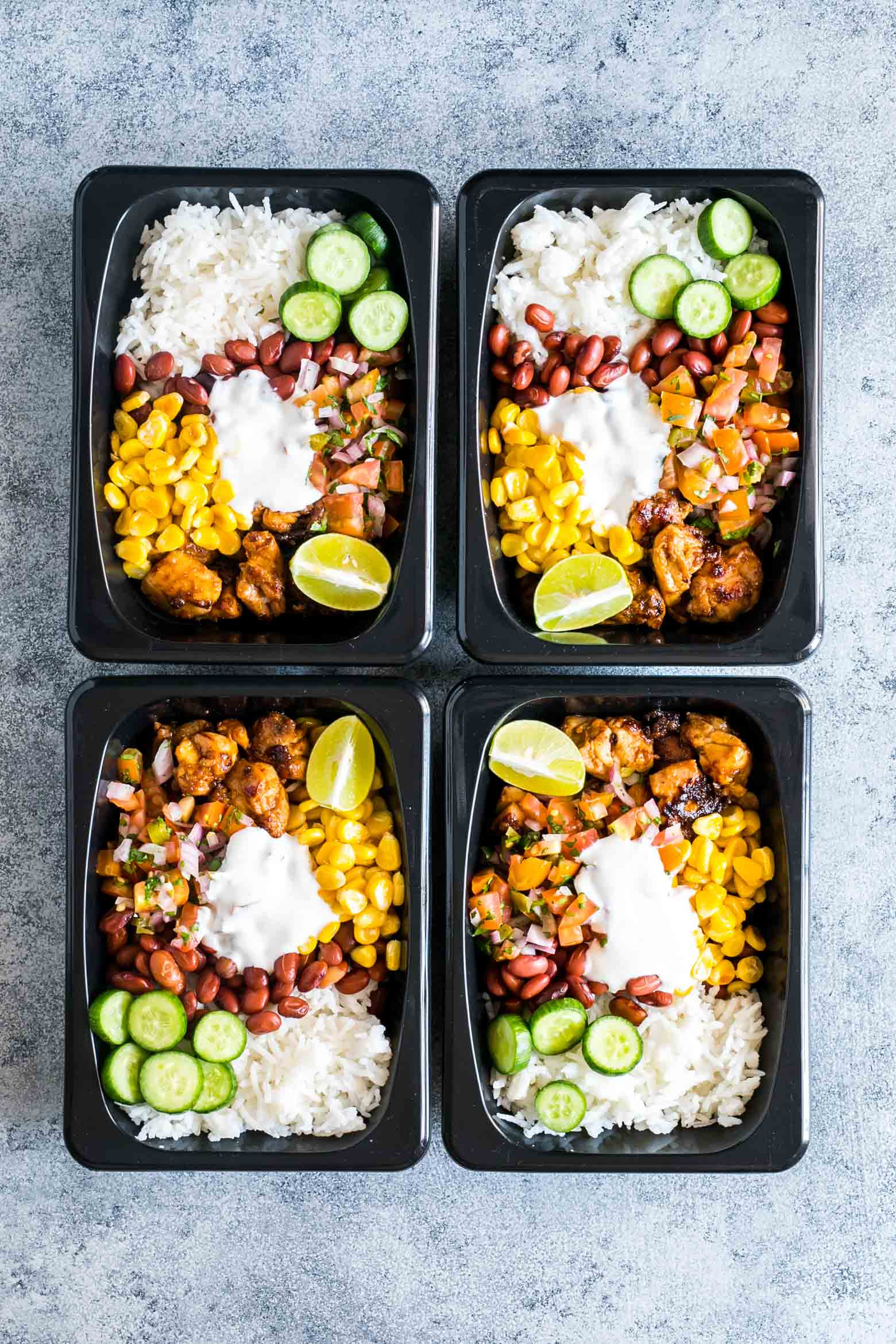 Healthy Meal Prep Lunches  Easy Chicken Burrito Meal Prep Bowls Gluten Free My