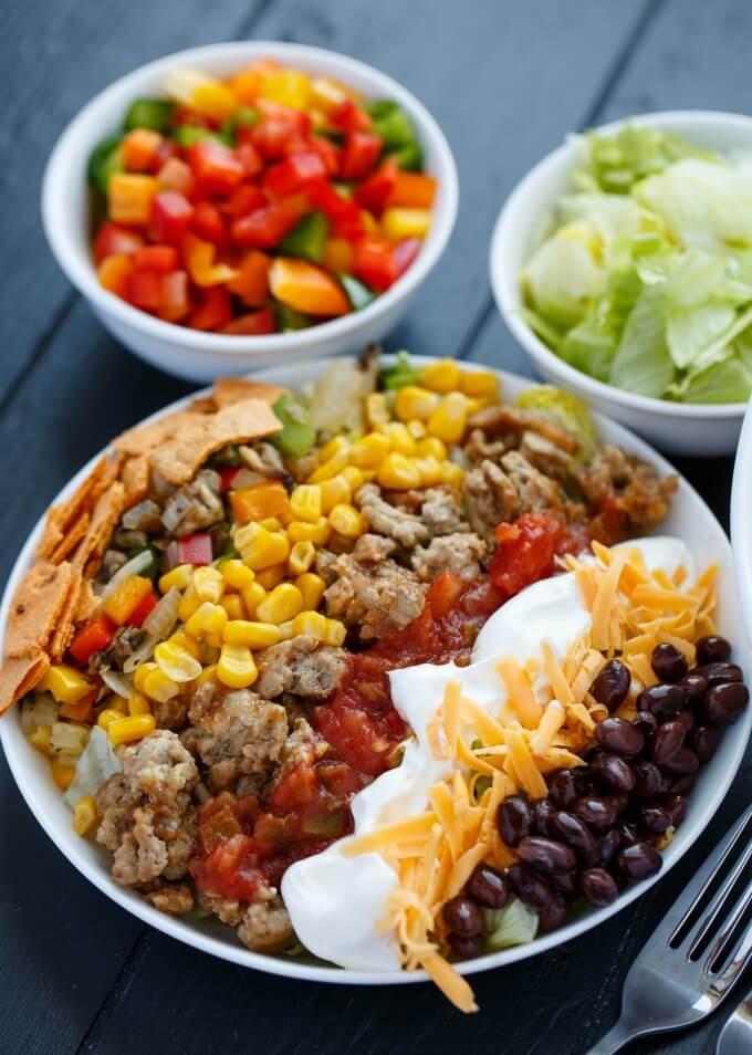 Healthy Meals With Ground Turkey  Ground Turkey Taco Salad The Cookie Writer
