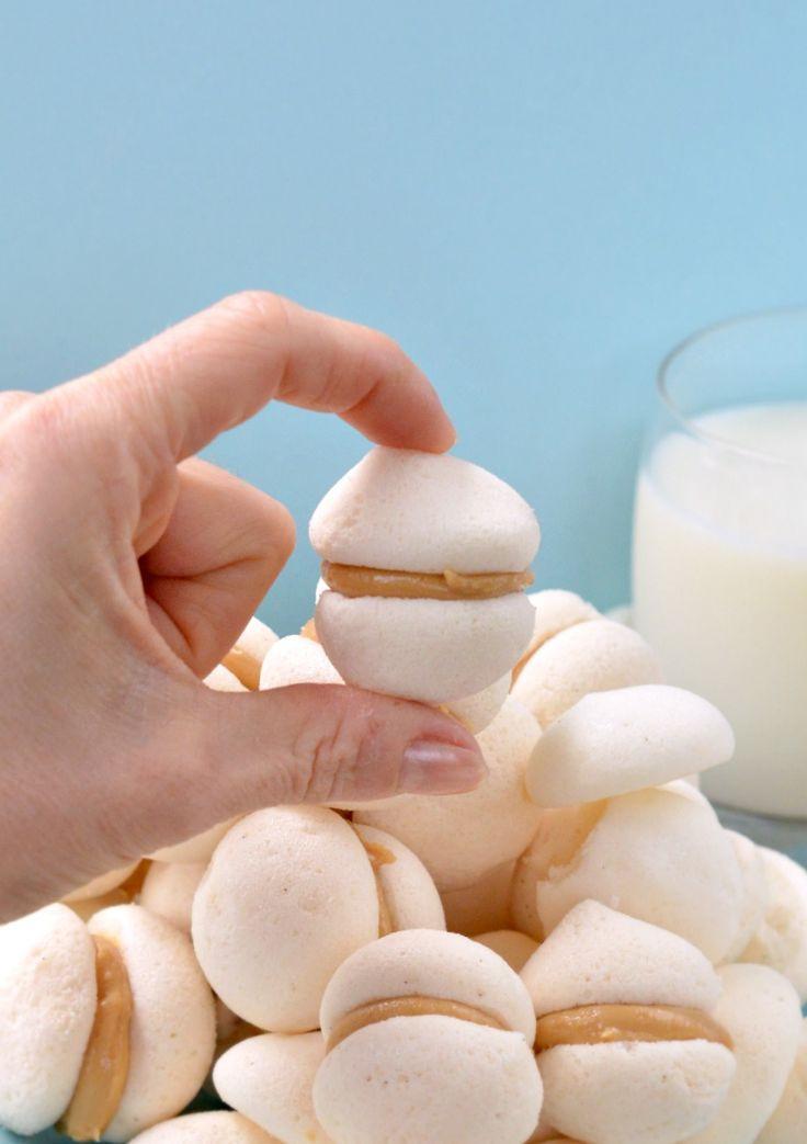 Healthy Meringue Cookies  Vegan Meringue with Peanut Butter ganache