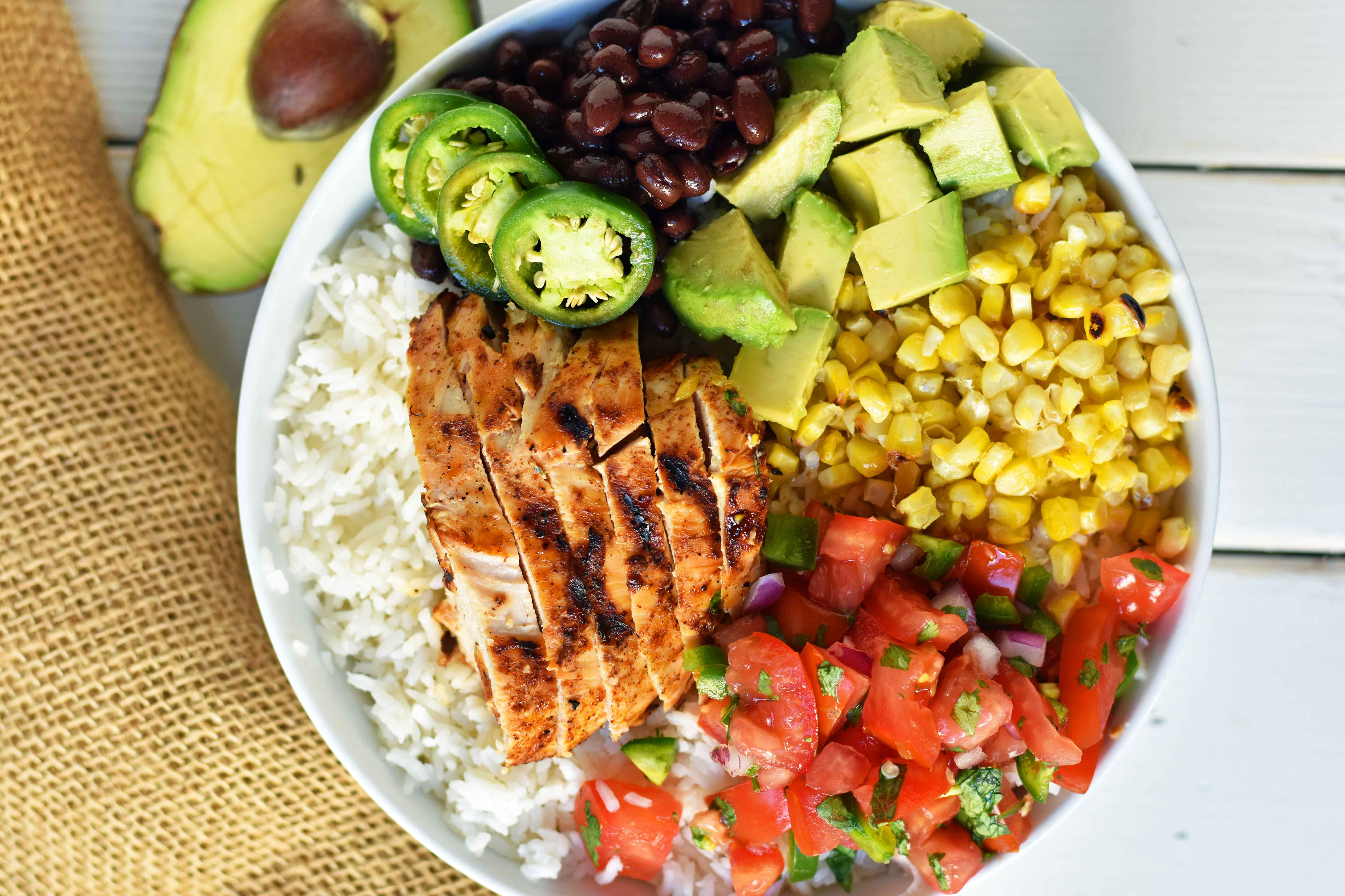 Healthy Mexican Rice Bowl Recipes  Grilled Chicken Burrito Bowls – Modern Honey