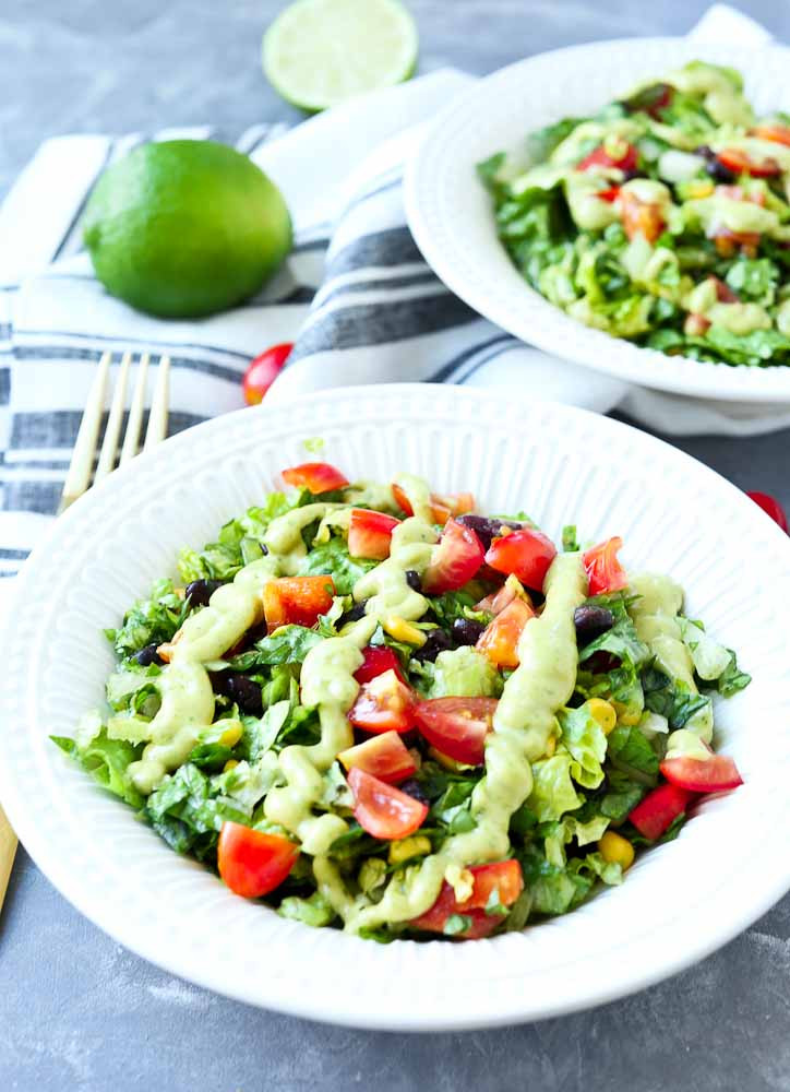 Healthy Mexican Salad Recipes  Mexican Chopped Salad with Spicy Avocado Dressing Happy