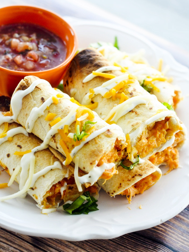 Healthy Mexican Snacks  Baked Buffalo Chicken Taquitos – Best Fast Healthy Mexican