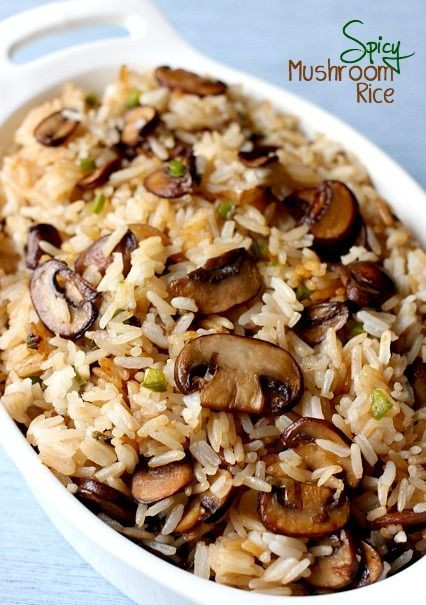 Healthy Mushroom Side Dish  Check out Spicy Mushroom Rice It s so easy to make