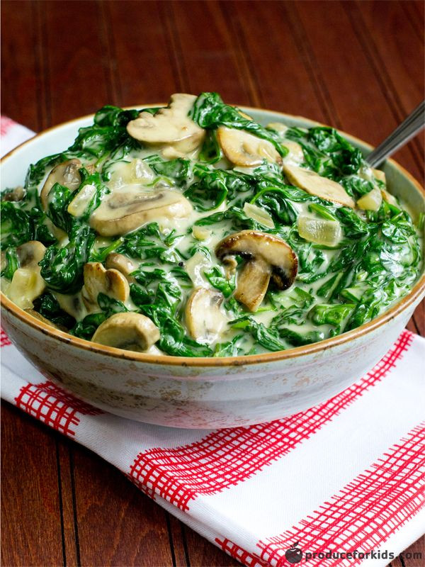 Healthy Mushroom Side Dish  creamed spinach cooking light