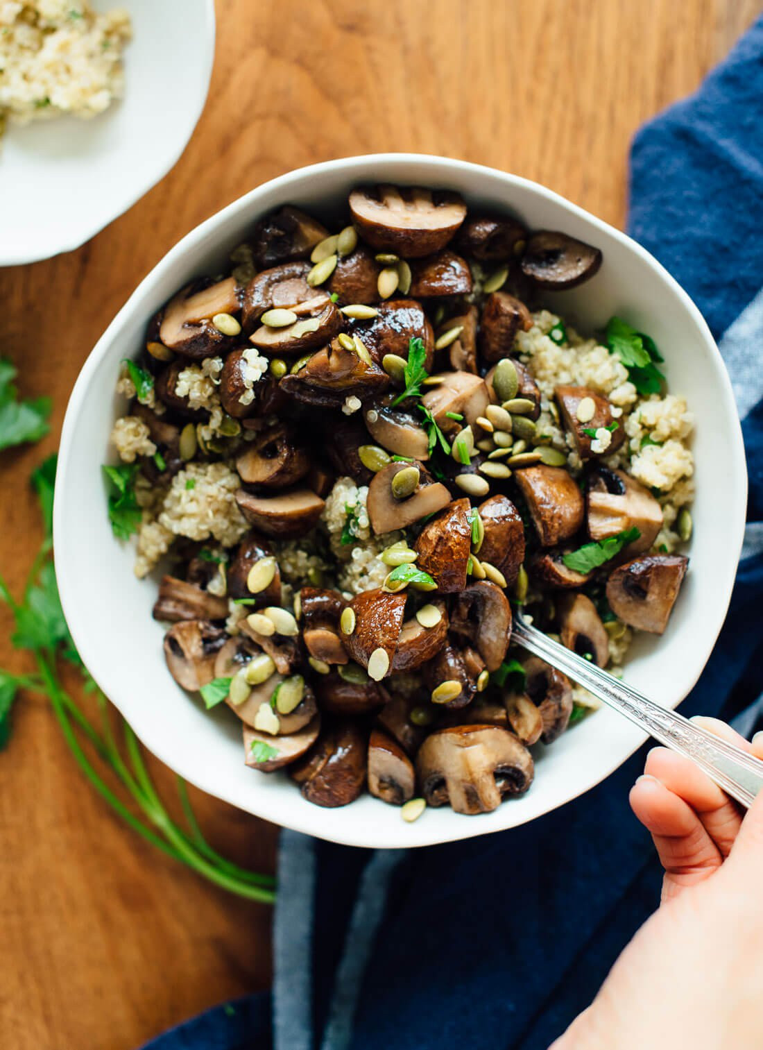 Healthy Mushroom Side Dish  Roasted Mushrooms with Herbed Quinoa Cookie and Kate