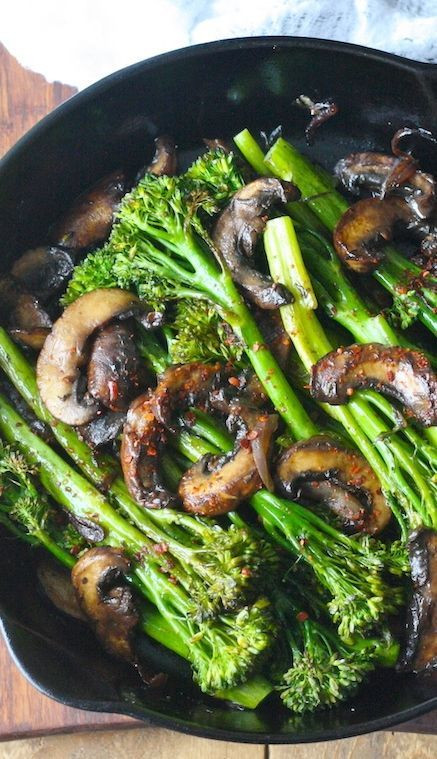 Healthy Mushroom Side Dish  Roasted Broccolini with Mushrooms in Balsamic Sauce