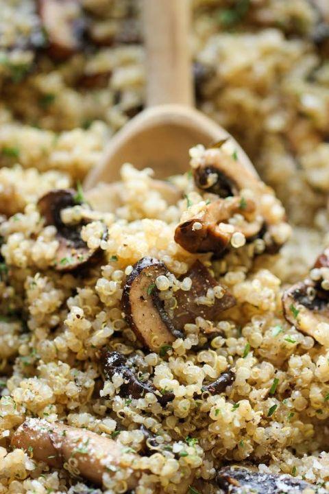 Healthy Mushroom Side Dish  Garlic Mushroom Quinoa Recipe