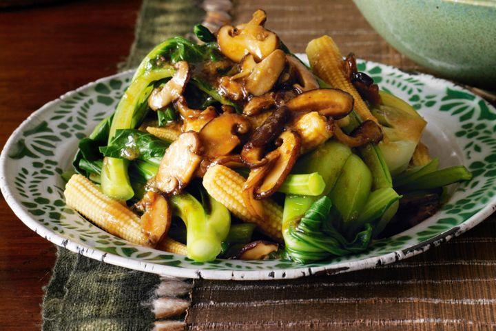 Healthy Mushroom Side Dish  Asian greens and shiitake mushrooms