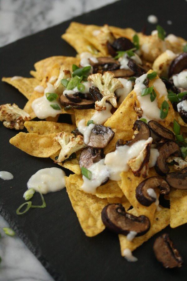 Healthy Nachos Recipe  Healthy Nachos with Mushrooms Cauliflower Cheese Sauce