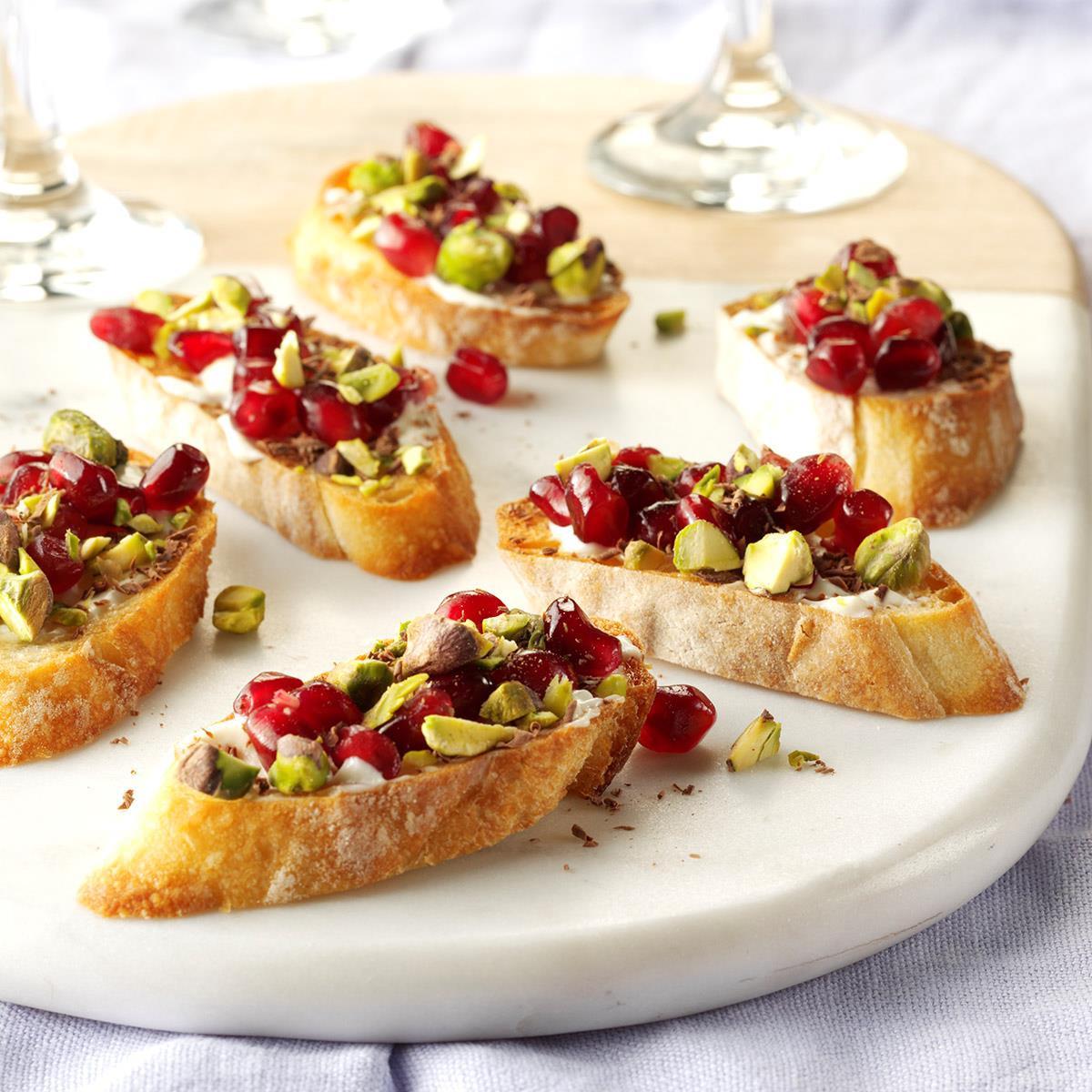 Healthy New Year'S Eve Appetizers  Pomegranate Pistachio Crostini Recipe