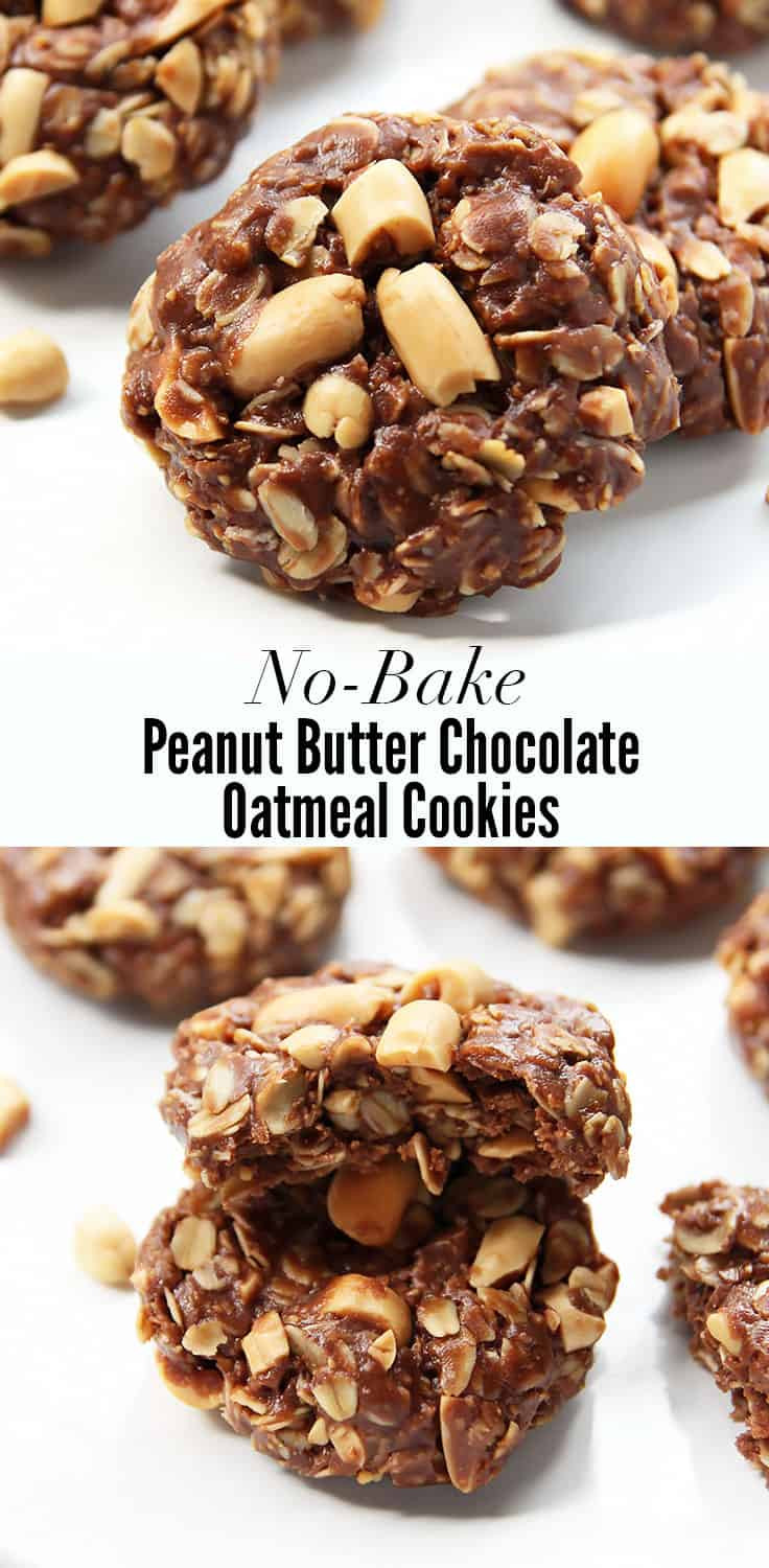 Healthy No Bake Chocolate Peanut Butter Oatmeal Cookies  No Bake Peanut Butter Chocolate Oat Cookies VIDEO