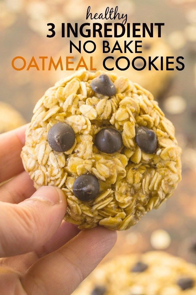 Healthy No Bake Oatmeal Cookies  Healthy 3 Ingre nt No Bake Oatmeal Cookies