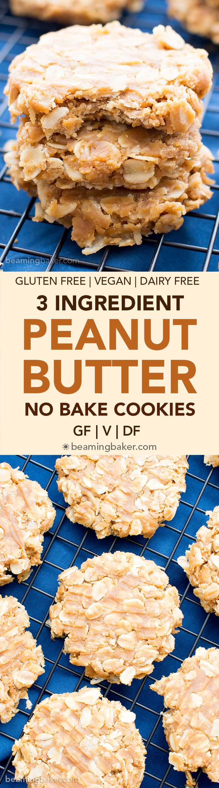 Healthy No Bake Oatmeal Cookies With Peanut Butter  healthy no bake peanut butter oatmeal cookies