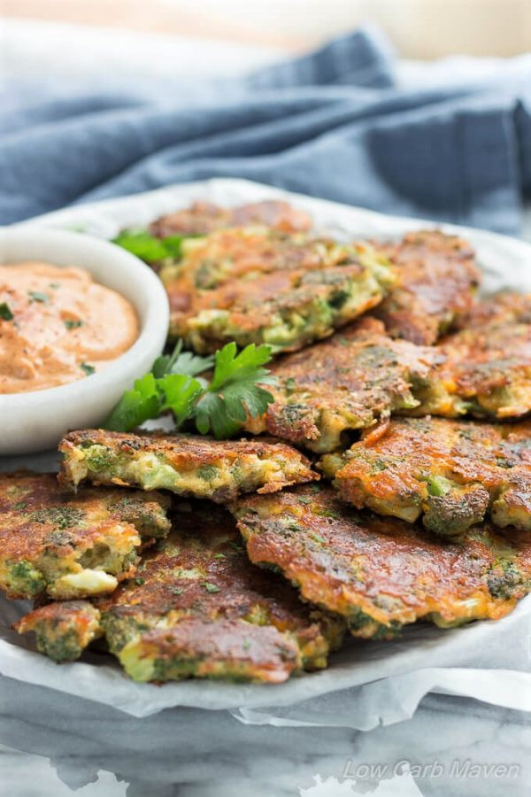 Healthy No Carb Dinners  Broccoli Fritters With Cheddar Cheese Easy Low Carb