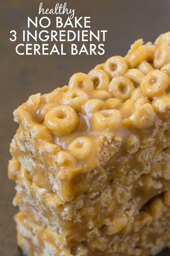 Healthy No Sugar Snacks  Healthy No Bake 3 Ingre nt Cereal Bars Ready in just