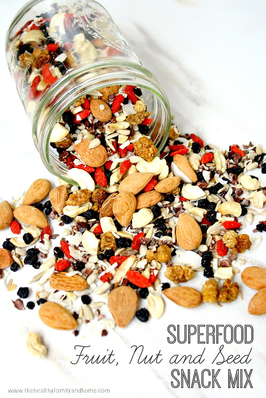 Healthy Nut Free Snacks  Superfood Fruit Nut and Seed Snack Mix