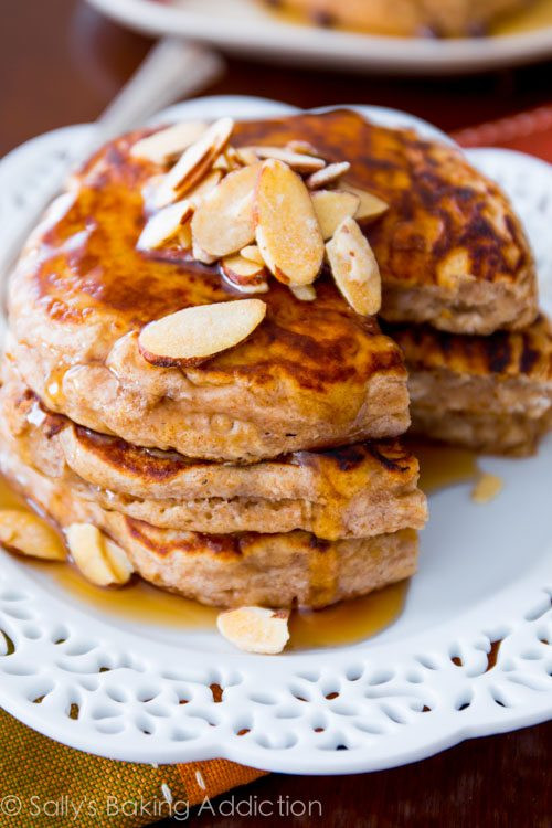 Healthy Oat Pancakes  Whole Wheat Oatmeal Pancakes Sallys Baking Addiction