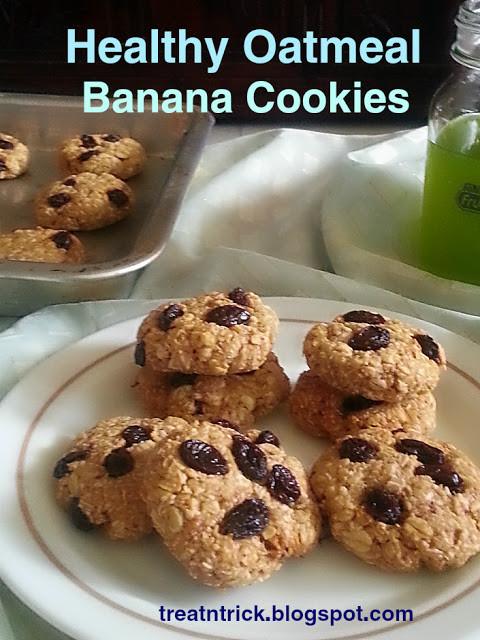 Healthy Oatmeal Banana Cookies  TREAT & TRICK HEALTHY OATMEAL BANANA COOKIES