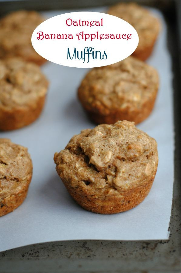Healthy Oatmeal Banana Muffins With Applesauce  healthy banana oatmeal muffins with applesauce