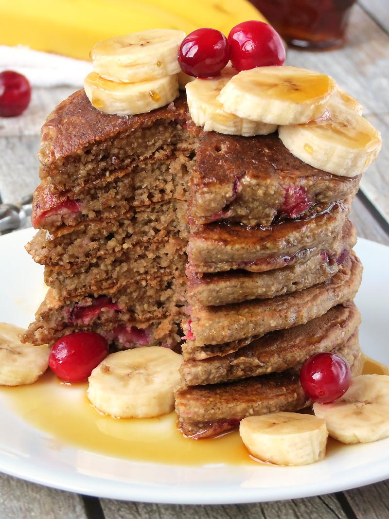 Healthy Oatmeal Banana Pancakes  Cranberry Banana Oatmeal Pancakes Yummy Addiction