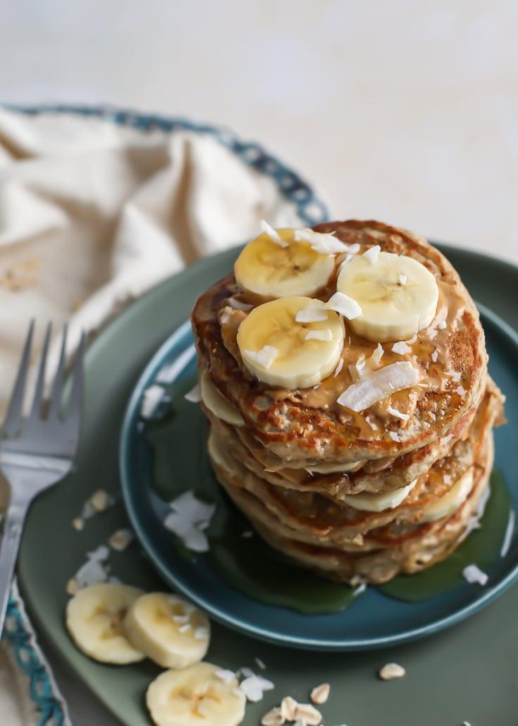Healthy Oatmeal Banana Pancakes  Healthy Oatmeal Banana Pancakes [DF GF] • Fit Mitten Kitchen