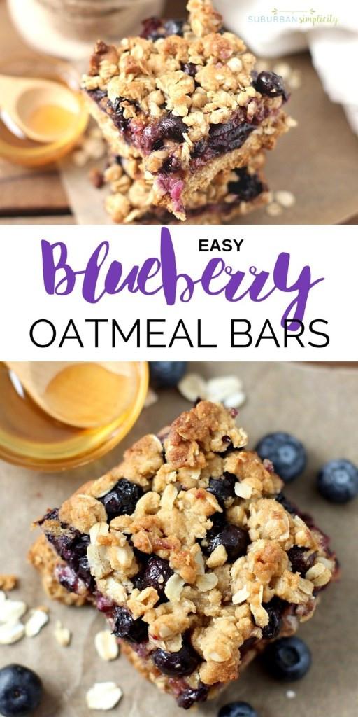 Healthy Oatmeal Breakfast Bars Recipe Easy  Easy Blueberry Oatmeal Bars