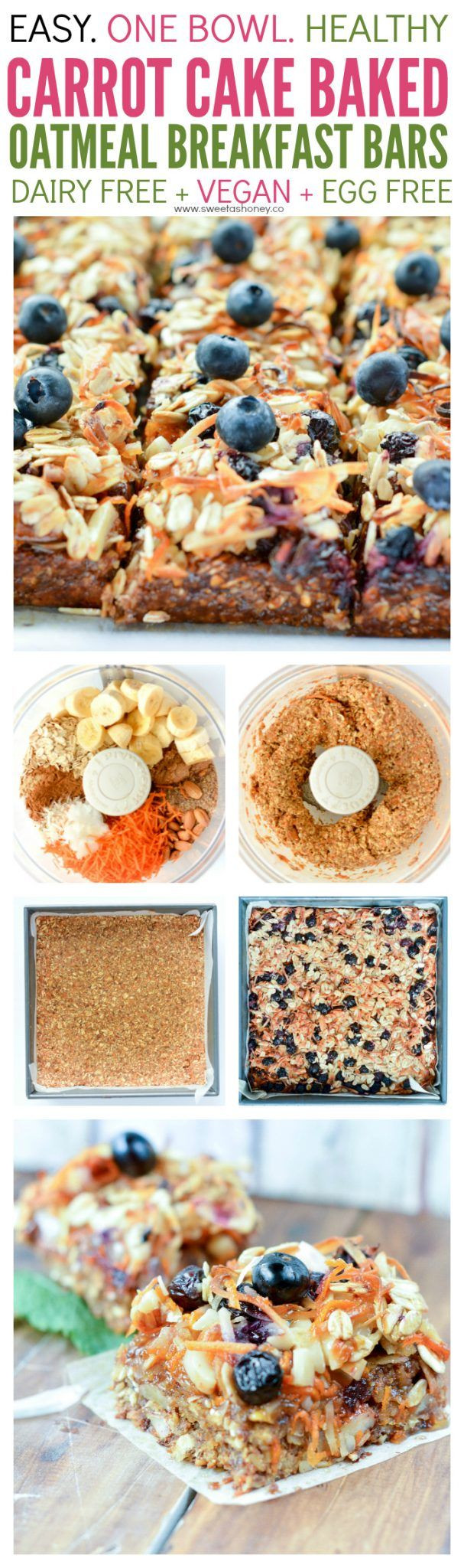 Healthy Oatmeal Breakfast Bars Recipe Easy  Carrot Cake Oatmeal Breakfast Bars are super easy and