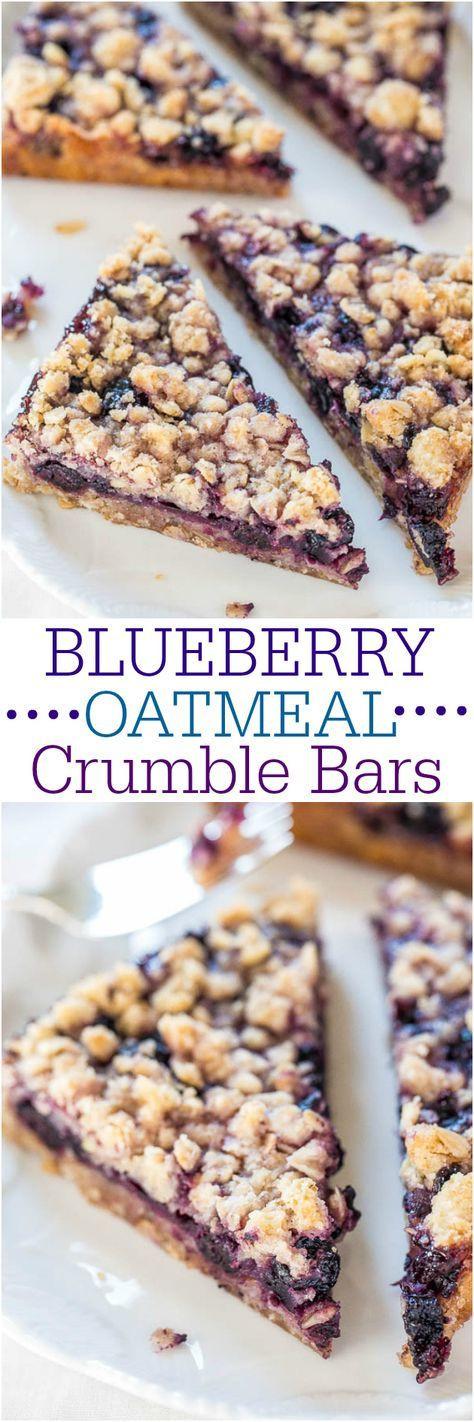 Healthy Oatmeal Breakfast Bars Recipe Easy  Blueberry oatmeal Easy bar and Breakfast snacks on Pinterest
