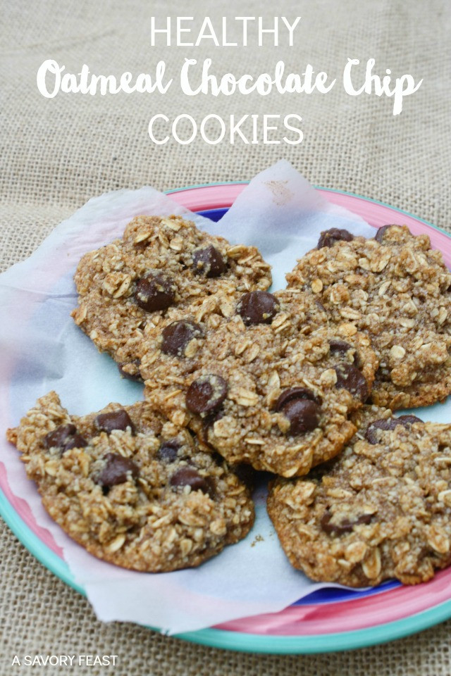 Healthy Oatmeal Choc Chip Cookies  healthy oatmeal chocolate chip cookies gluten free
