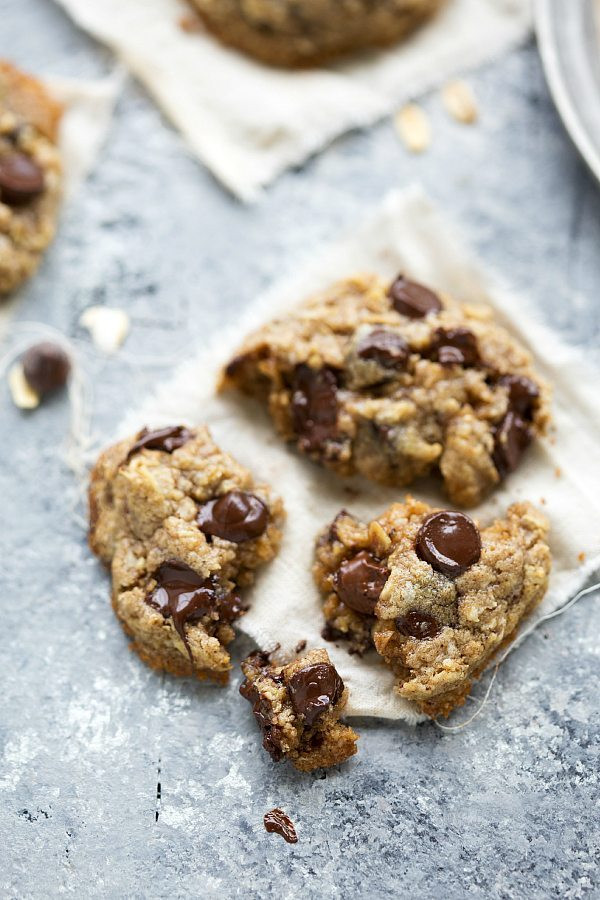 Healthy Oatmeal Chocolate Chip Cookies No Butter  Healthier Flourless Monster Cookies Chelsea s Messy Apron