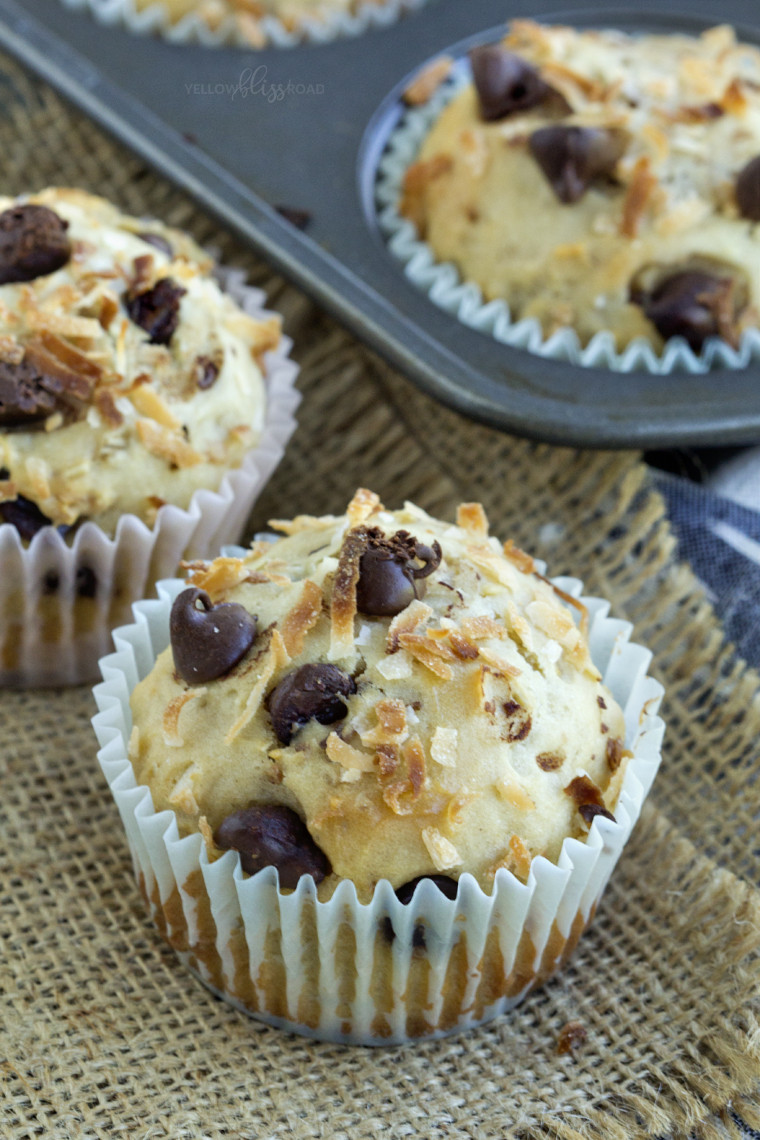 Healthy Oatmeal Chocolate Chip Muffins  Healthy Coconut Chocolate Chip Oatmeal Muffins Yellow