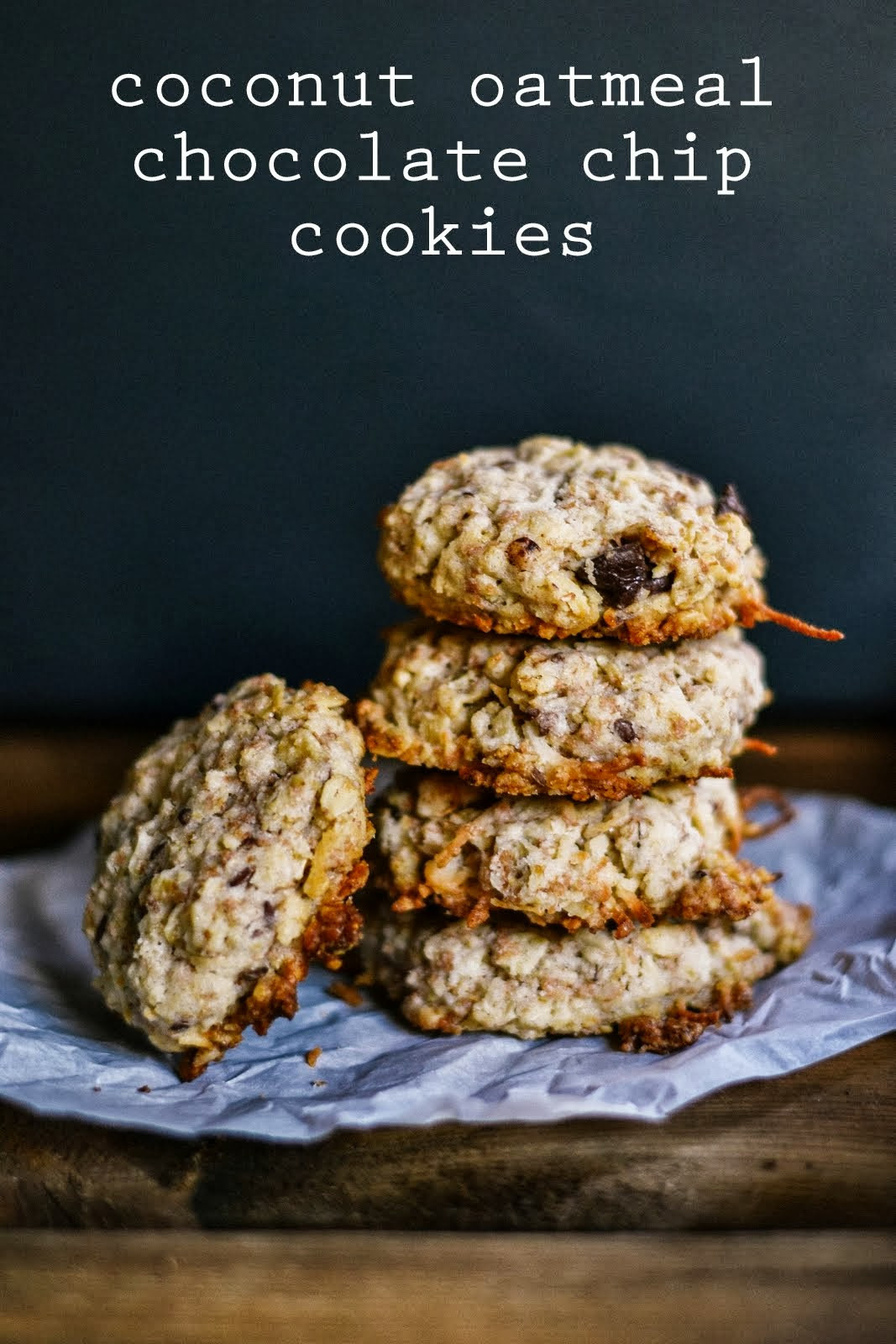Healthy Oatmeal Coconut Chocolate Chip Cookies  p s ♡ coconut oatmeal chocolate chip cookies