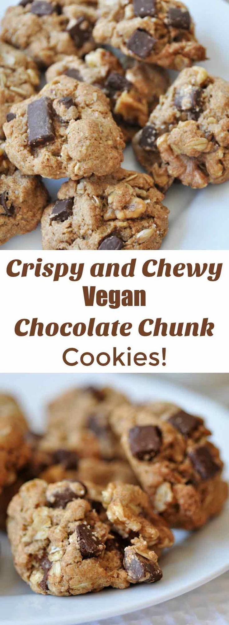 Healthy Oatmeal Cookies With Coconut Oil  Crispy Vegan Chocolate Chunk Oatmeal Cookies
