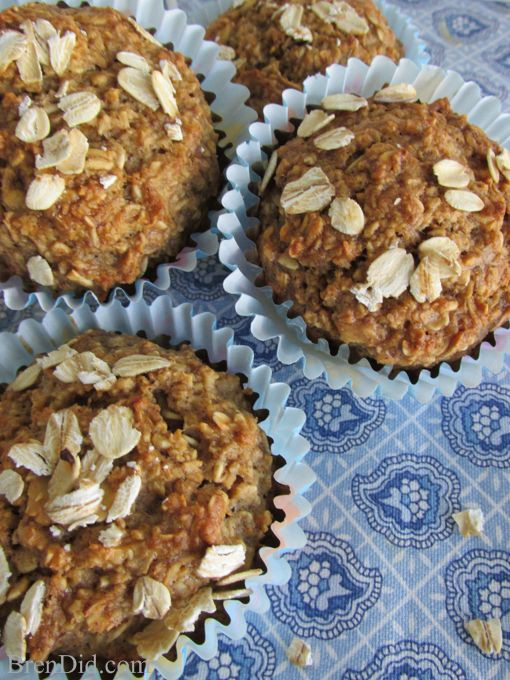 Healthy Oatmeal Muffins Applesauce  Check out Healthy Oatmeal Muffins No Flour No Sugar No