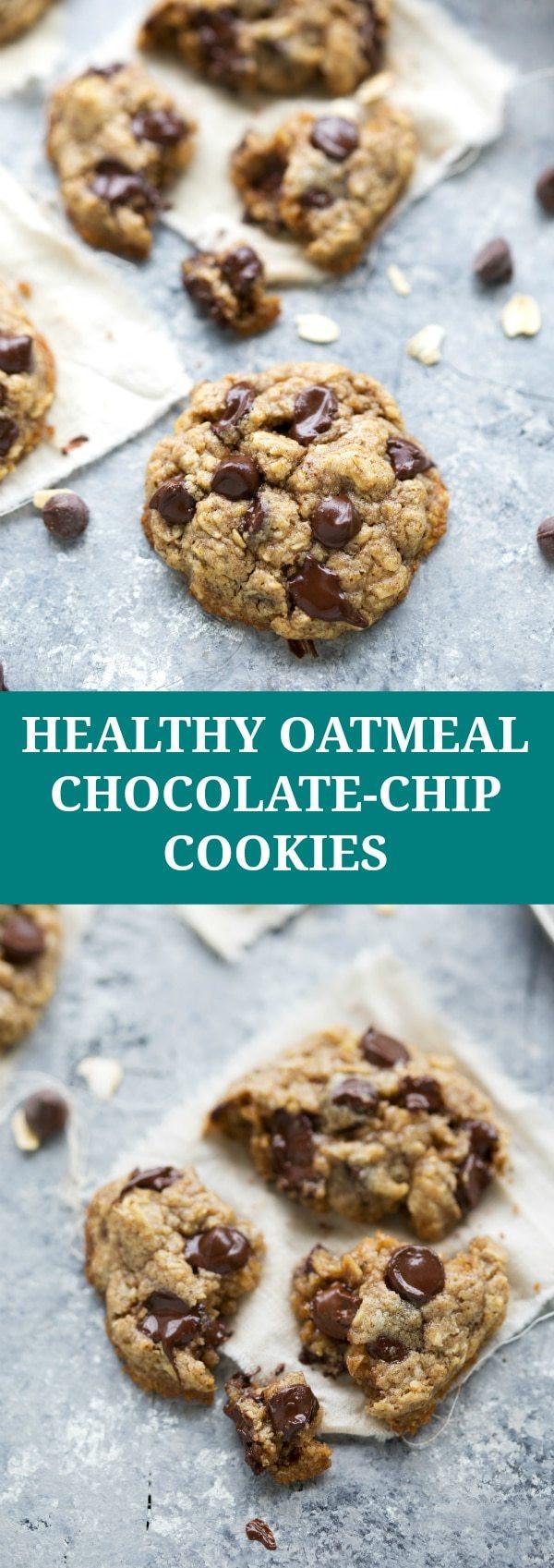 Healthy Oatmeal Raisin Chocolate Chip Cookies  easy healthy oatmeal chocolate chip cookie recipe