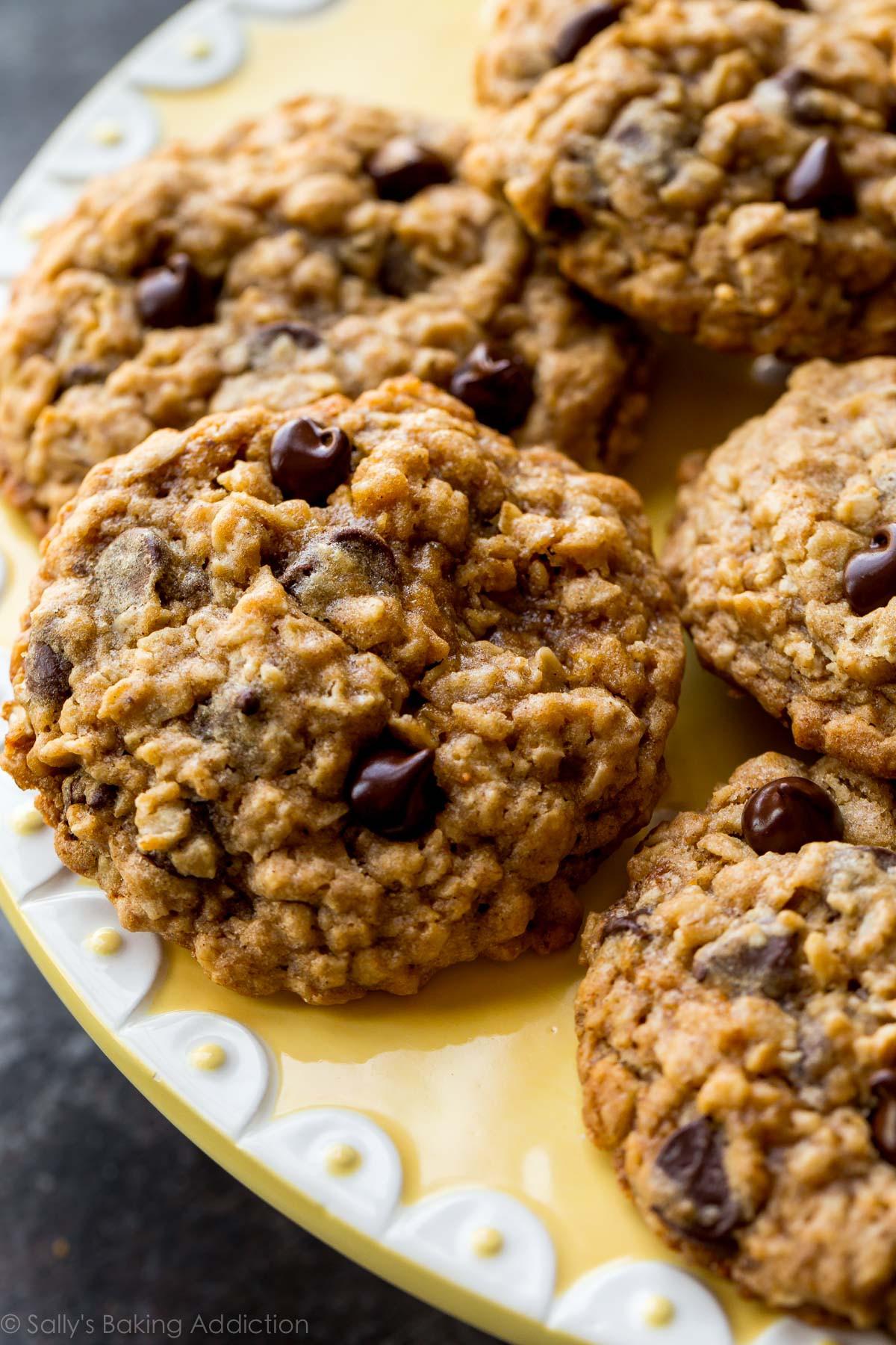 Healthy Oatmeal Raisin Chocolate Chip Cookies  Soft & Chewy Oatmeal Chocolate Chip Cookies Sallys