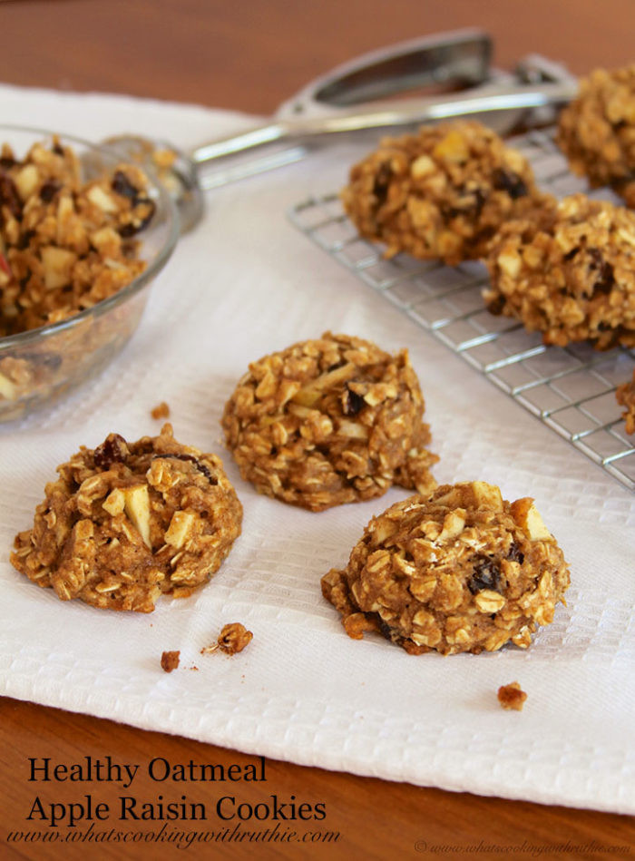 Healthy Oatmeal Raisin Cookies  Healthy Oatmeal Apple Raisin Cookies Cooking With Ruthie
